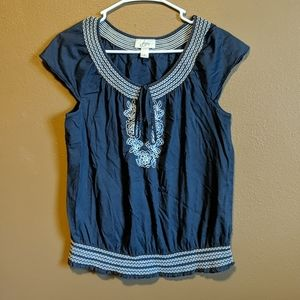 Loft navy blue blouse size Medium